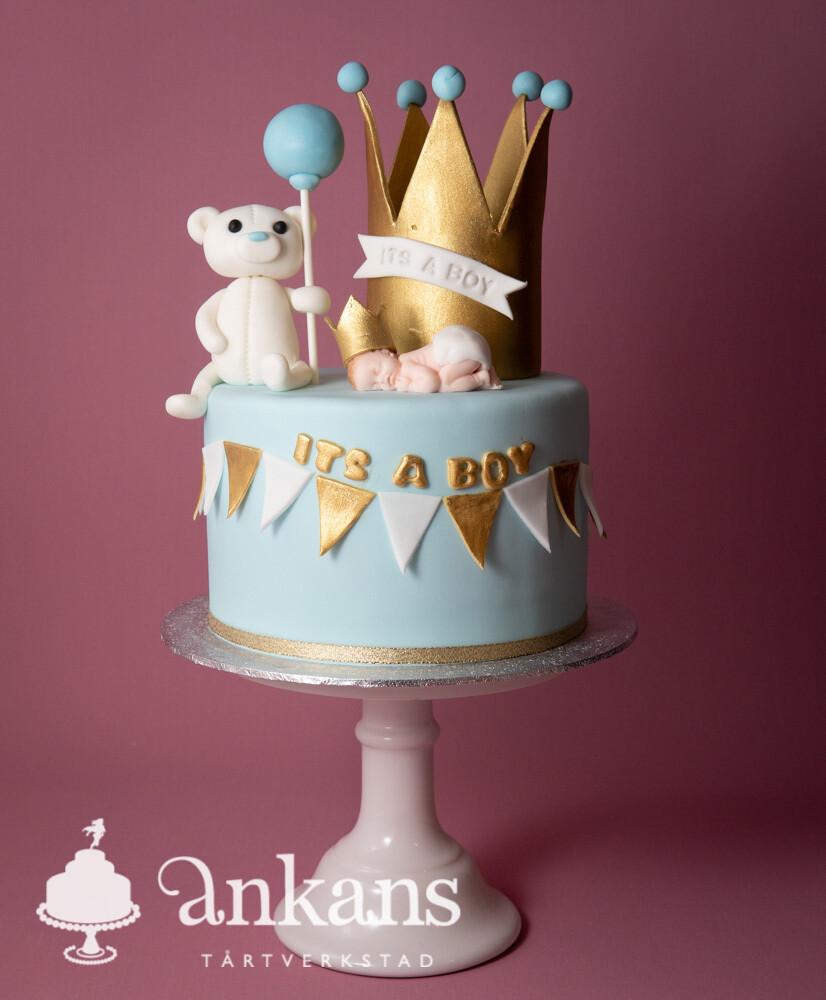 Babytårta krona, nalle och bebis