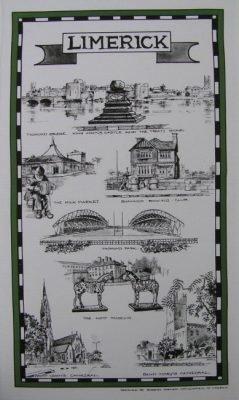 Barbara Hartigan Sketches of Limerick Tea Towel