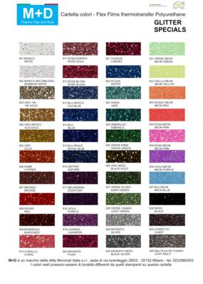 Flex M+D glitter Specials larghezza 50cm - TERMOADESIVO per tessuti e T-shirt colori, glitter