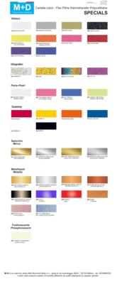 Flex M+D Specials larghezza 50cm - TERMOADESIVO per tessuti e T-shirt colori, oro e argento + glitter + gummy + metallizzati + perla + fosforescente + olografici