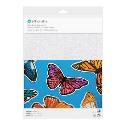 STICKER SHEETS - WHITE GLITTER - Carta adesiva stampabile - glitter bianco brillante