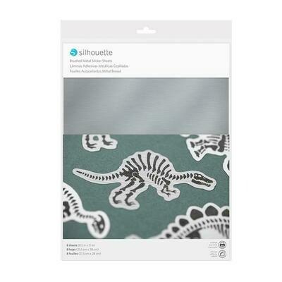 STICKER SHEETS - BRUSHED METALLIC SILVER - Carta adesiva effetto argento metallizzato spazzolato