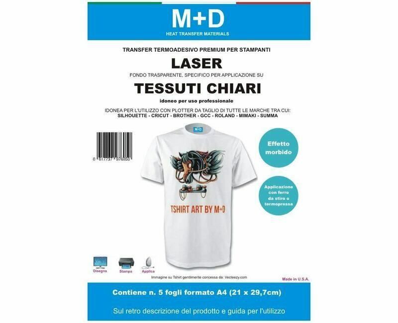 transfer stampabili LASER di alta qualità per tessuti chiari - carta transfer