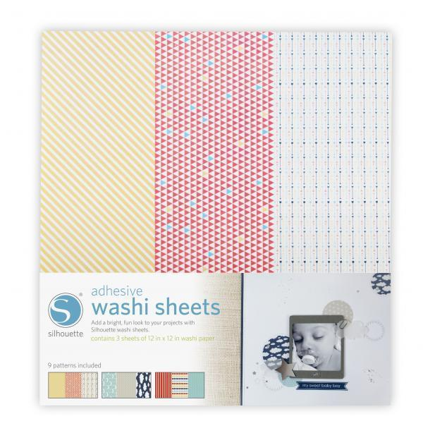 MEDIA-WASHI-ADH - Carta Washi adesiva - ogni foglio ha 3 diversi pattern