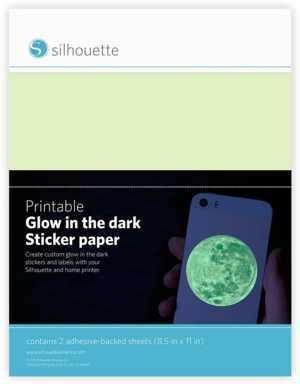 MEDIA-GITD-ADH - Glow in the dark sticker printable paper - carta luminescente stampabile dim 21,5 cm x 28 cm