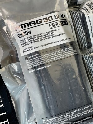 4 Magpul Industries, BLK Magazine, M4 With Window, 223 Rem/556NATO, 30Rd
