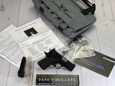 "Wilson Combat SFX9, Non-Lightrail Frame Handgun 9mm Luger 10rd Magazine 3"" Barrel Aluminum X-Frame, WITH AMBI."