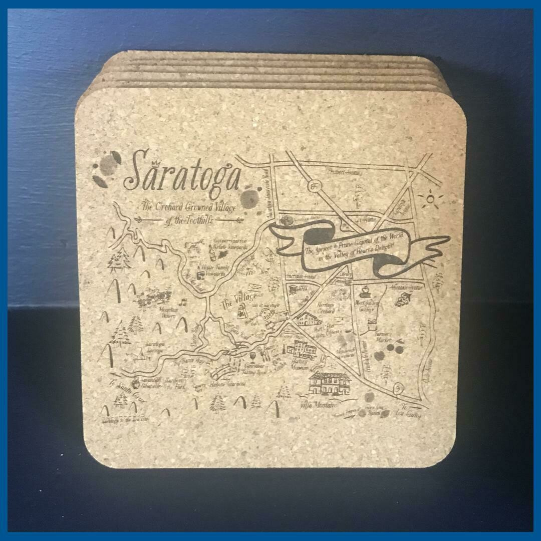 Saratoga Map Cork Coaster Set