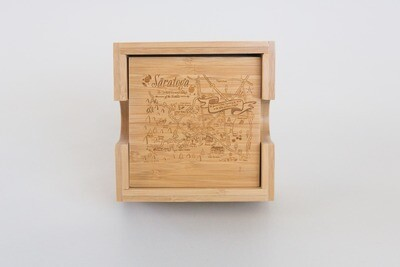 Saratoga Map Bamboo Coaster Set