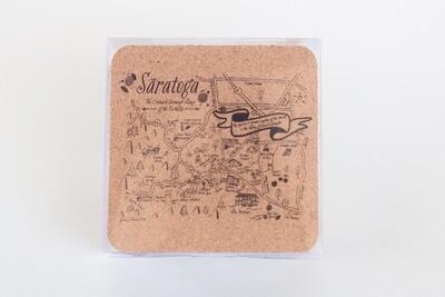 Saratoga Map Cork Coaster Set