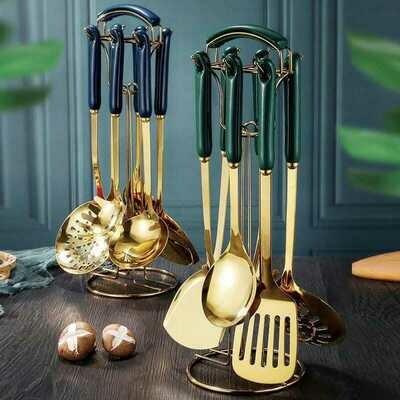 Heavy Golden Serving Spoons