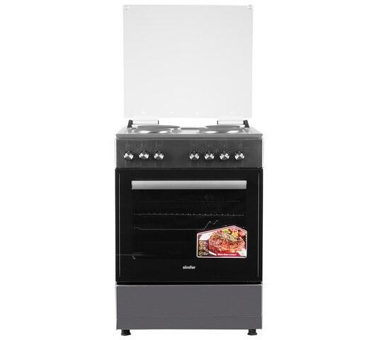 Simfer 6047NEI 4 Plate Electric Cooker - Inox Grey