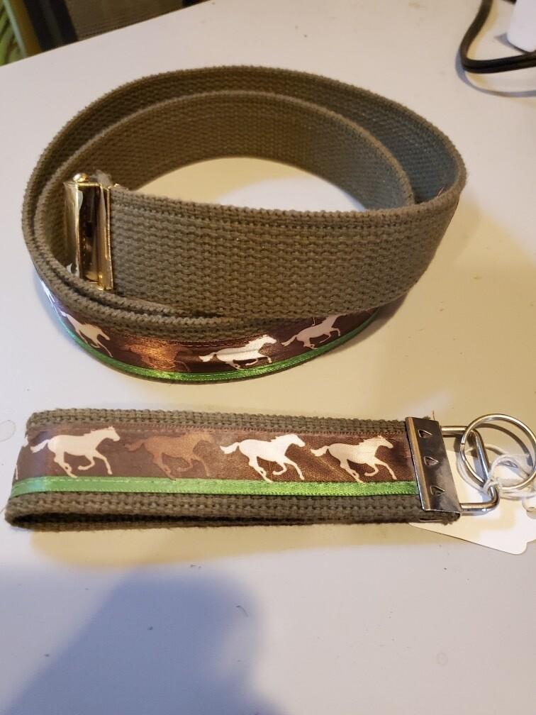 Horse Belt and Matching Key Fob