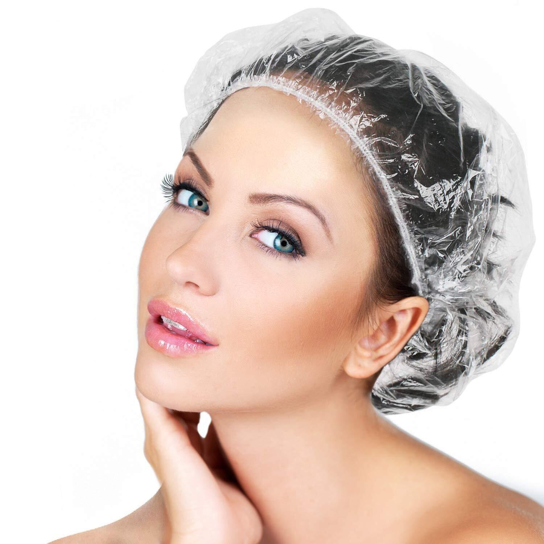 LQQKS Clear Plastic Shower Cap