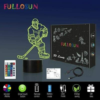 Fullosun - 3D Night Lights Ice Hockey Athlete 3D Illusion Bedside Lamp 16 Colour