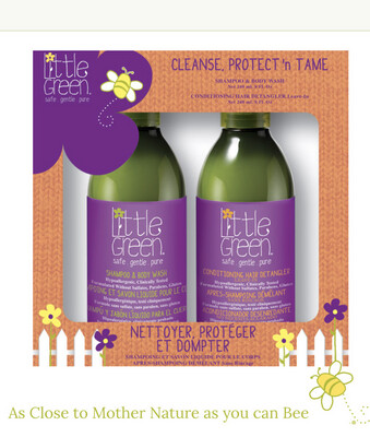 Little Green CLEANSE, PROTECT 'N TAME  Shampoo & Body Wash + Conditioning Hair Detangler (Leave-in) take tangles and tears away.