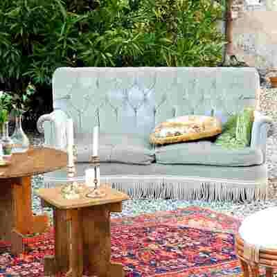 Canapé anglais velours gris