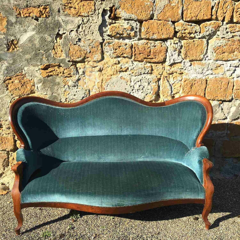 Canapé Louis Philippe en merisier bleu