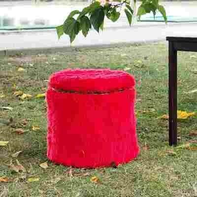 Tabouret fourrure rouge