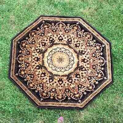 Tapis hexagonal marron