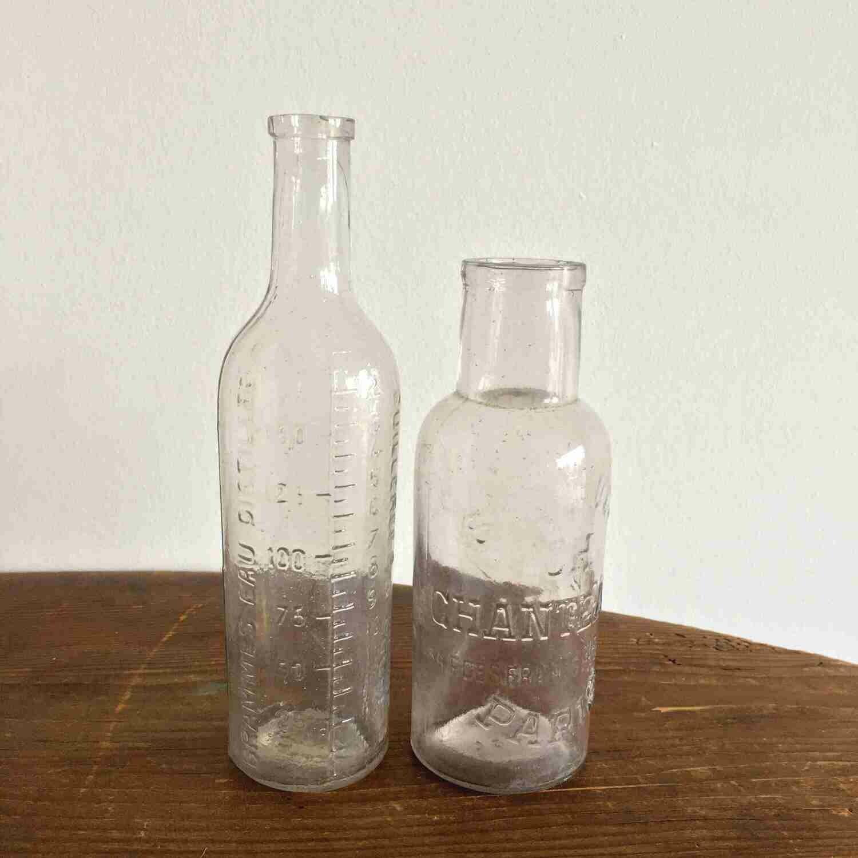 Bouteille apothicaire transparente vintage