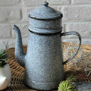Cafetière émaillée grise