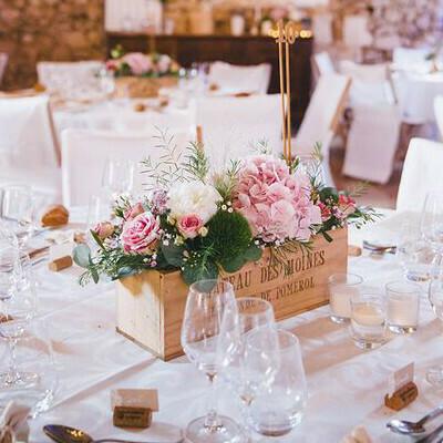 Caisse de vin en bois centre de table