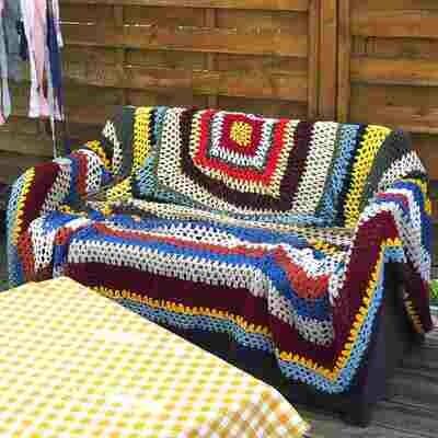 Dessus de lit en crochet ouvragé hippi