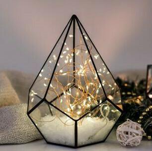 Lanterne terrarium métal noir et verre grand