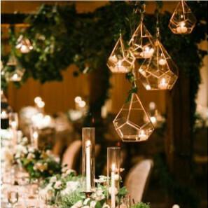 Lanterne terrarium géométrique noire