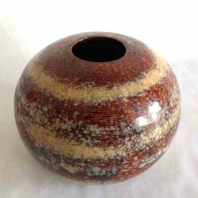 Vase céramique boule marron
