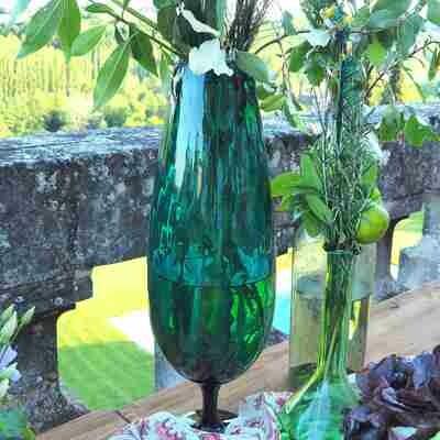 Vase verre bleu grand