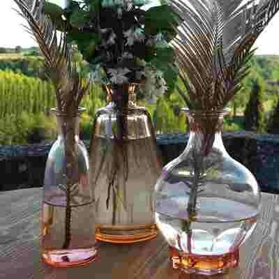 Vase verre bouteille flacon rose