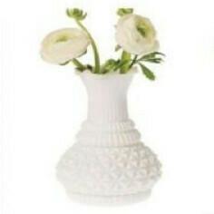 Vase verre blanc boule croisillons
