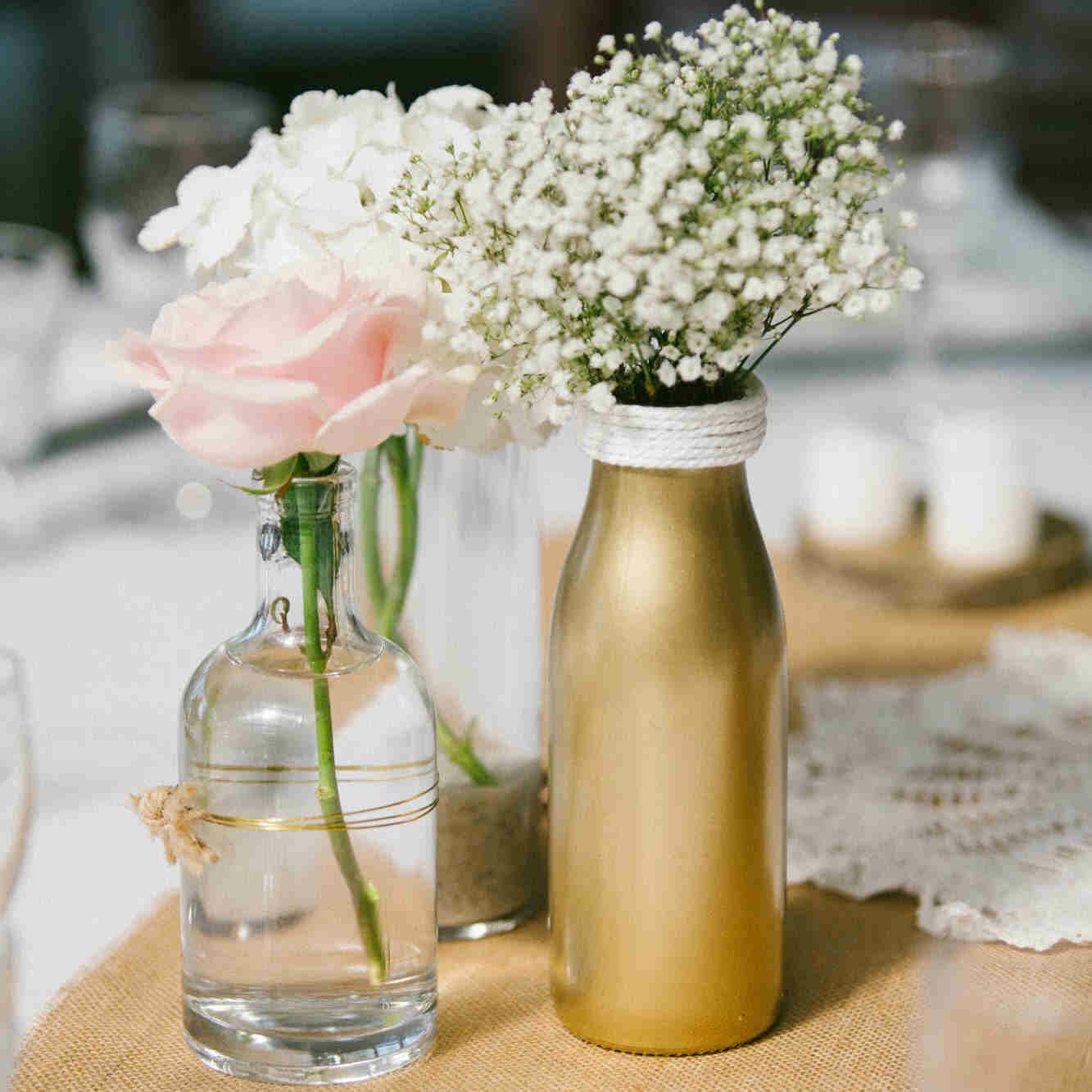 Vase verre doré Lait