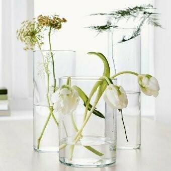 Vase en verre rond droit (lot de 3)
