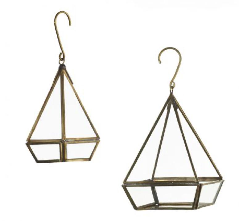 Lanterne laiton doré triangle petite