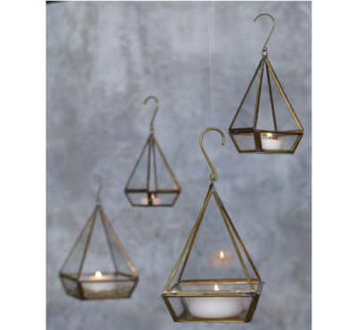 Lanterne laiton doré triangle grand