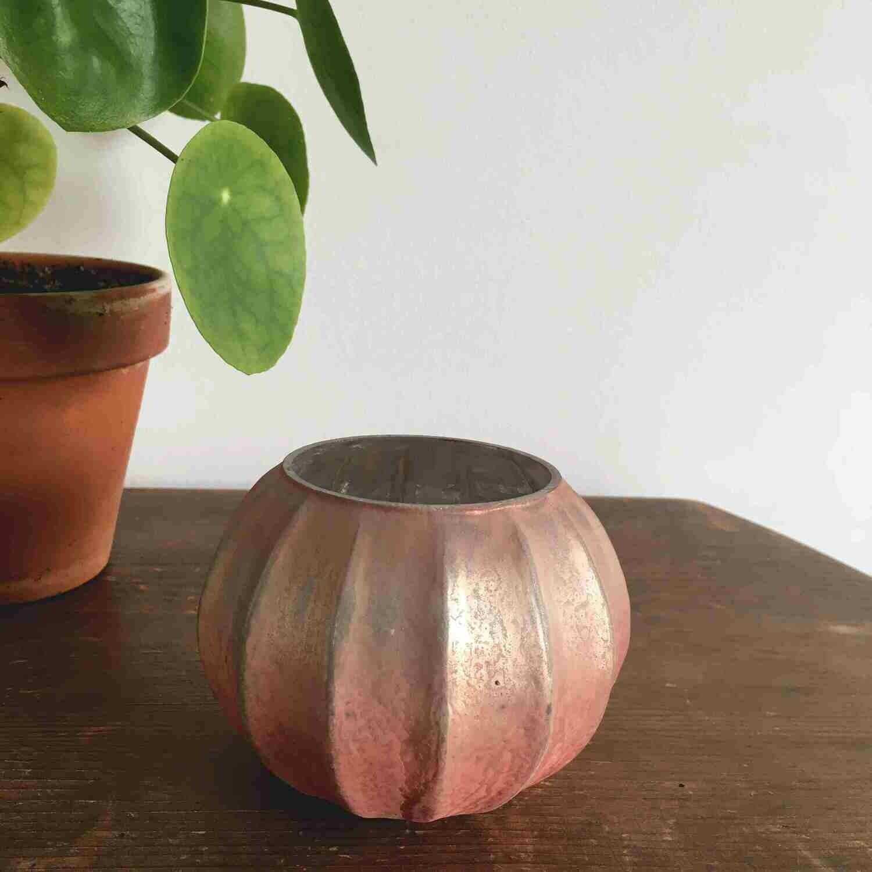 Photophore céramique rose rond