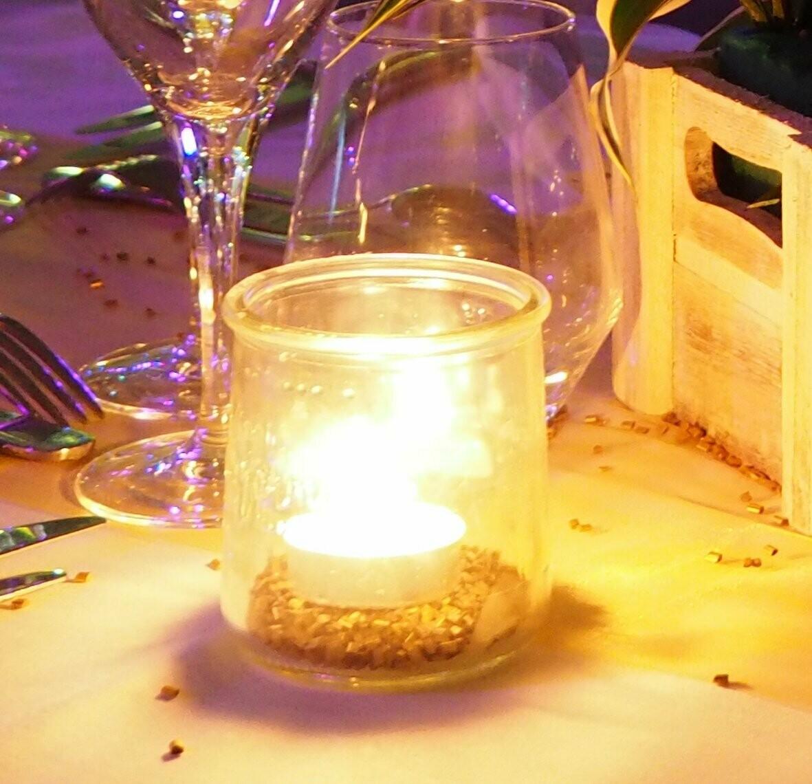 Photophore pot de yaourt en verre