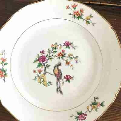 Assiette porcelaine fleurie creuse