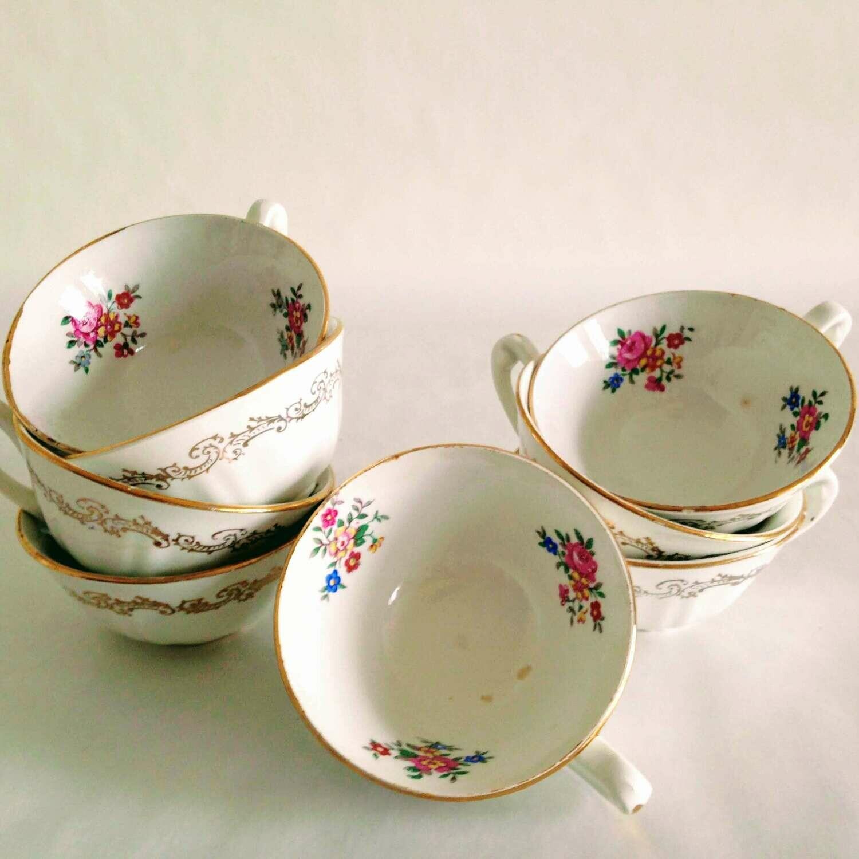 Tasse à café porcelaine fleurie