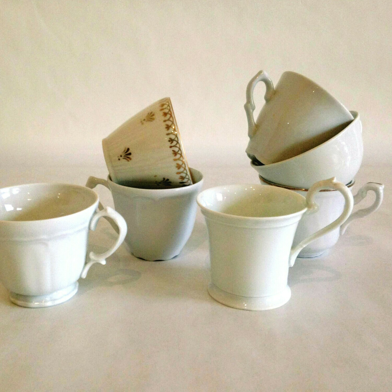 Tasse à café porcelaine blanche dorée