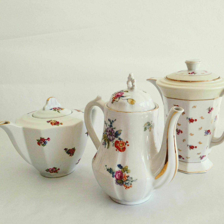 Théière  Porcelaine grande fleurie couvercle