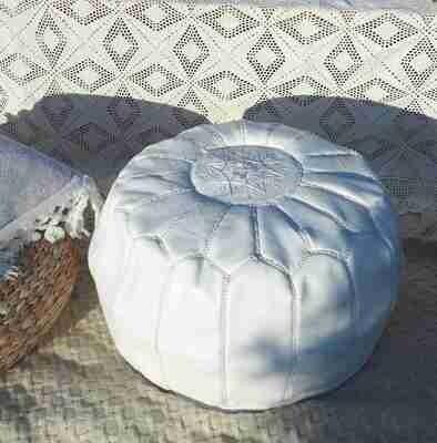 Pouf marocain cuir blanc