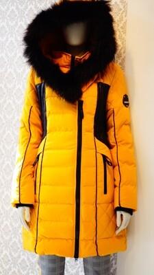 Manteaux Oxygen Moutarde Vrai Fourrure--Mustard real fur Oxygen winter Jacket