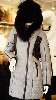 Manteaux Oxygen vrai fourrure gris--Grey Oxygen real fur Winter Jacket