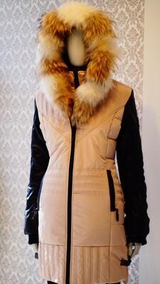 Manteaux Oxygen Beige et noir Vrai fourrure--Beige and Black leather real fur Oxygen Winter Jacket