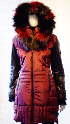 Wine Red and Black leather real fur Oxygen Winter Jacket