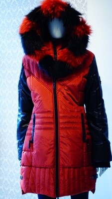 Rust and black leather real fur Winter Jacket